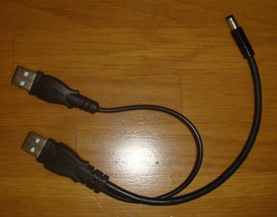 自作した給電専用USB2-DCケーブル